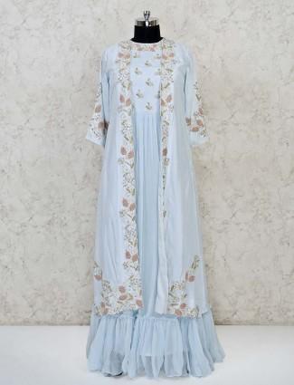 Sky blue georgette floor length anarkali suit for wedding