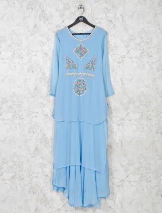 Sky blue georgette layer style kurti