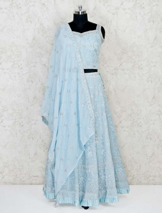 Sky blue georgette lehenga choli for wedding