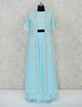 Sky blue georgette party function floor length punjabi lehenga suit