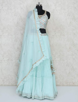 Sky blue georgette wedding wear lehenga choli