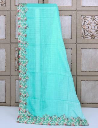 Sky blue kota silk saree for festive function