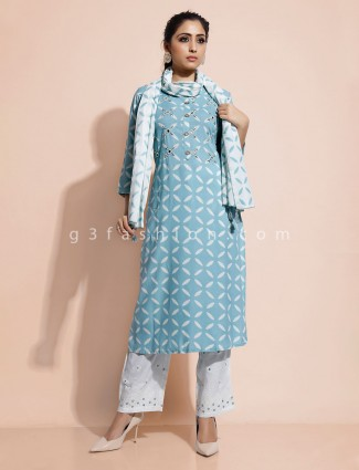 Sky blue kurti and pant set in cotton