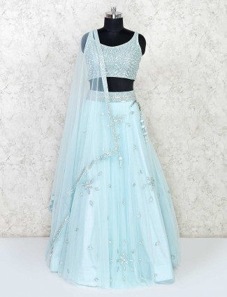 Sky blue lehenga choli in net