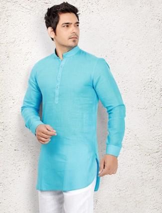 Sky blue linen short pathani