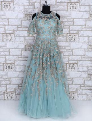 Sky blue net designer gown