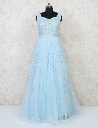 Sky blue net floor length gown