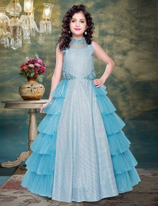 Sky blue net layer style designer gown