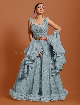Sky blue net lehenga choli in wedding
