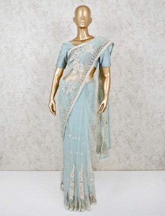 Sky blue net saree for evening party