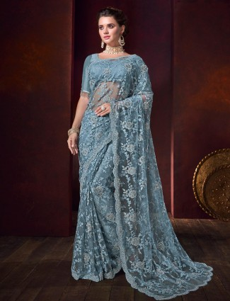 Sky blue net saree for party function