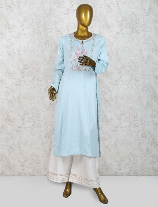 Sky blue palazzo suit in cotton