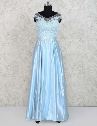 Aqua party gown in v neck