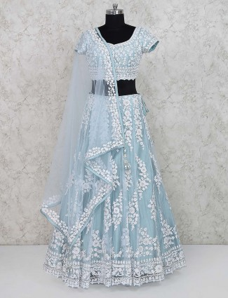Sky blue party lehenga choli in net