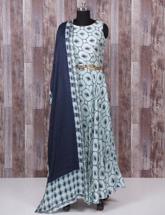 Sky blue printed cotton silk anarkali suit