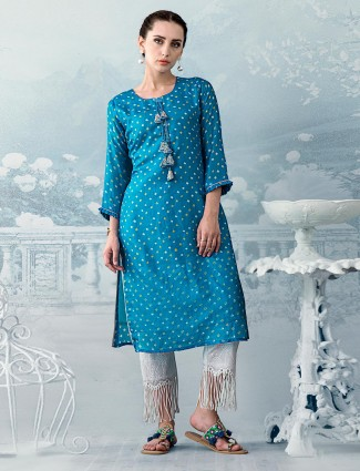 Sky blue printed Kurti set in cotton