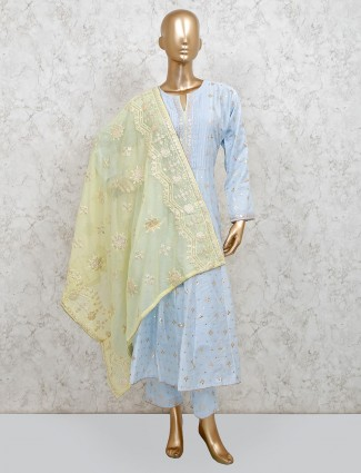 Sky blue punjabi pant suit in cotton