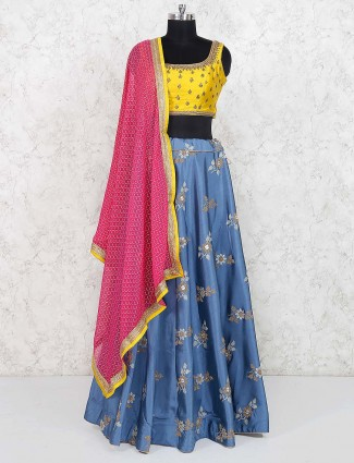 Sky blue raw silk fabric lehenga choli