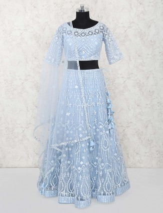 Sky blue round neck lehenga choli