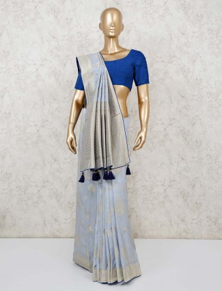 Sky blue saree design in dola silk
