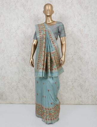 Sky blue semi banarasi silk saree for party