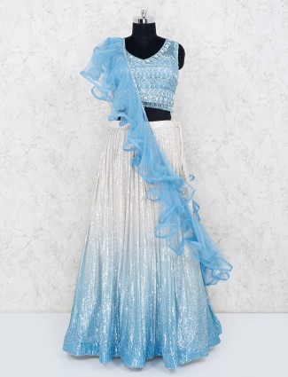 Sky blue shaded lehenga with heavy sequins work in geogrette