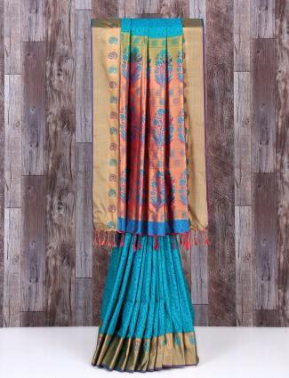 Sky blue silk alluring saree