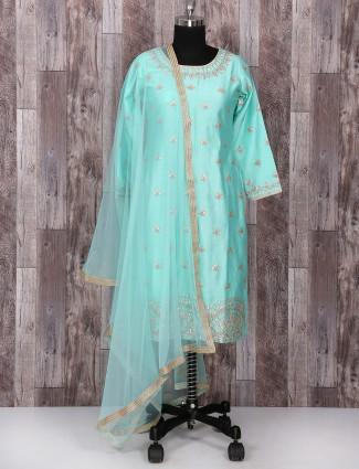 Sky blue silk palazzo festive suit