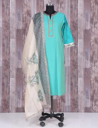 Sky blue silk punjabi suit