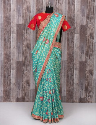 Sky blue silk saree for weddingwear