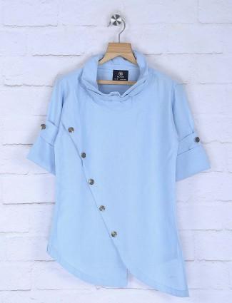 Sky blue solid cotton fabric kurta suit