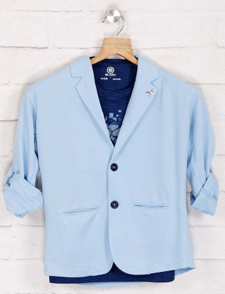 Sky blue solid notch lapel blazer