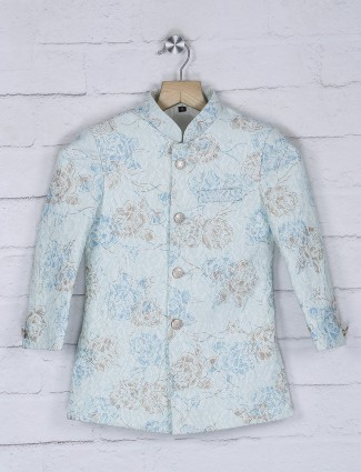 Sky blue terry rayon party indo western