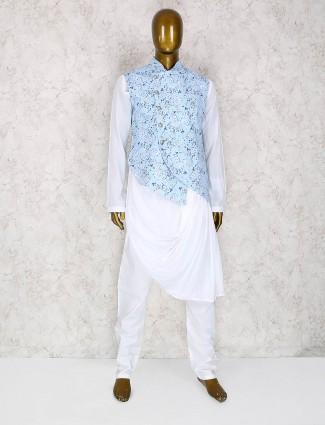 Sky blue terry rayon waistcoat set