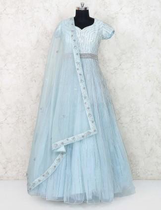 Sky blue tissue silk floor length anarkali suit