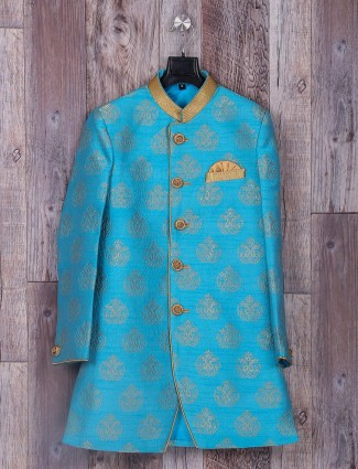 Sky blue wedding wear silk indo western