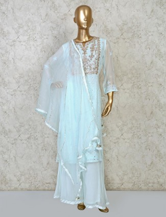 Sky blue zari woven punjabi palazzo set for festive