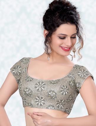 Sliver raw silk ready made designer blouse