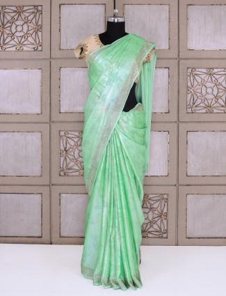 Smoke georgette fabric sea green saree