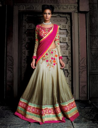 Smoke georgettee shaded grey semi stitched lehenga choli