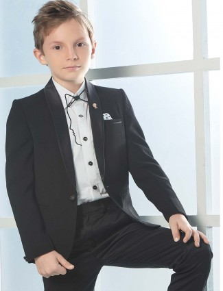 Sober black party function full sleeves tuxedo suit