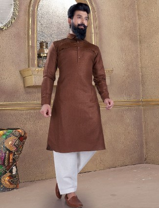 Sober brown color pathani suit