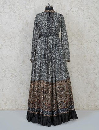 Sober grey anarkali designer suit for parties