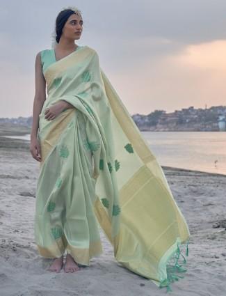 Sober pista green banarasi silk saree