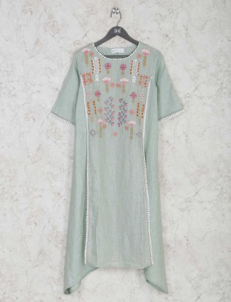 Sober pista green kurti in cotton
