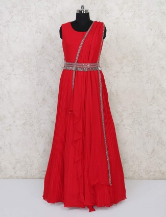 Sober red anarkali designer suit for parties