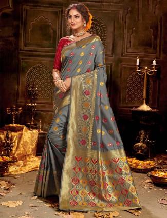 Soft banarasi silk saree in grey for weddings
