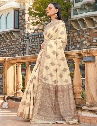 Soft cotton cream festive saree