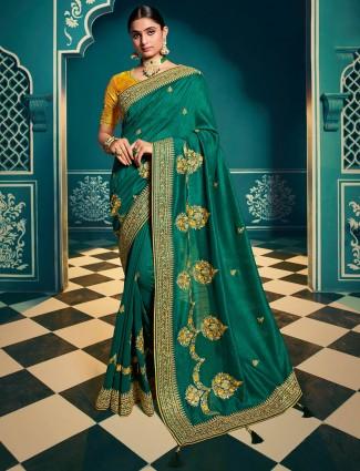 Soft cotton silk saree in green