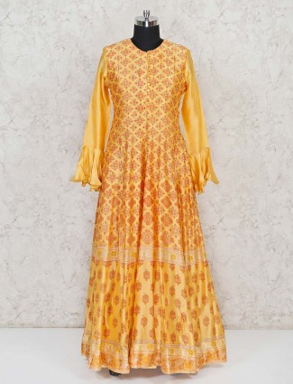 Soft silk yellow anarkali dress with ruffle sleeves